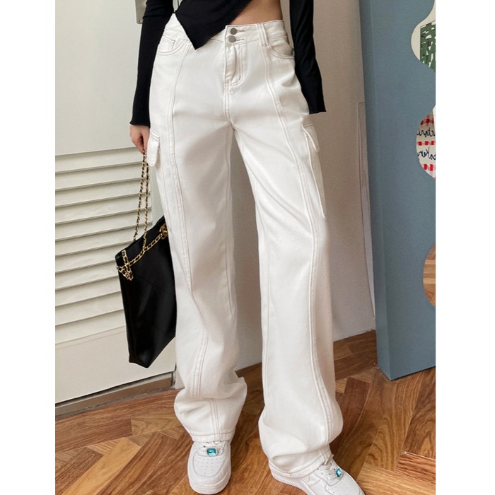 2021 autumn new fashion brand Gothic style fried street love embroidery low waist straight pants casual pants white jeans