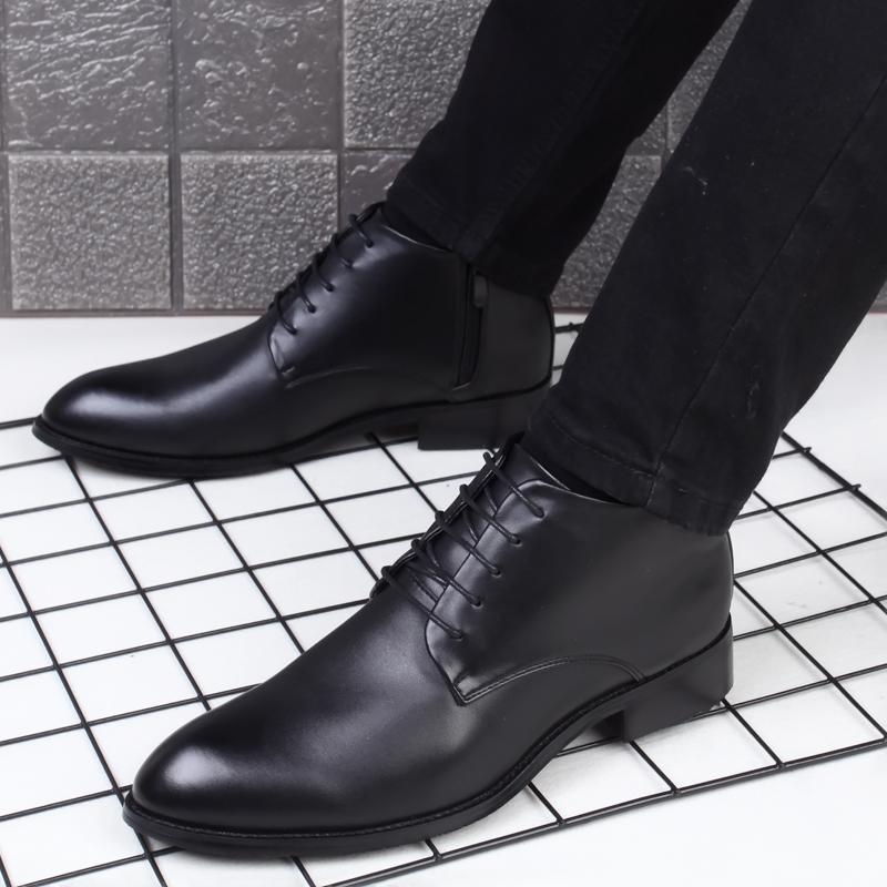 高帮皮鞋男靴英伦尖头马丁靴韩版工装靴短靴商务正装休闲皮靴男鞋