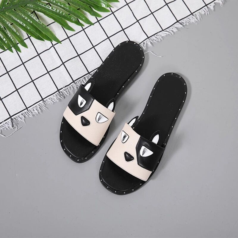 2018 summer new small CK womens shoes flat bottom sandals riveted slippers dog year custom pattern ck-70920036