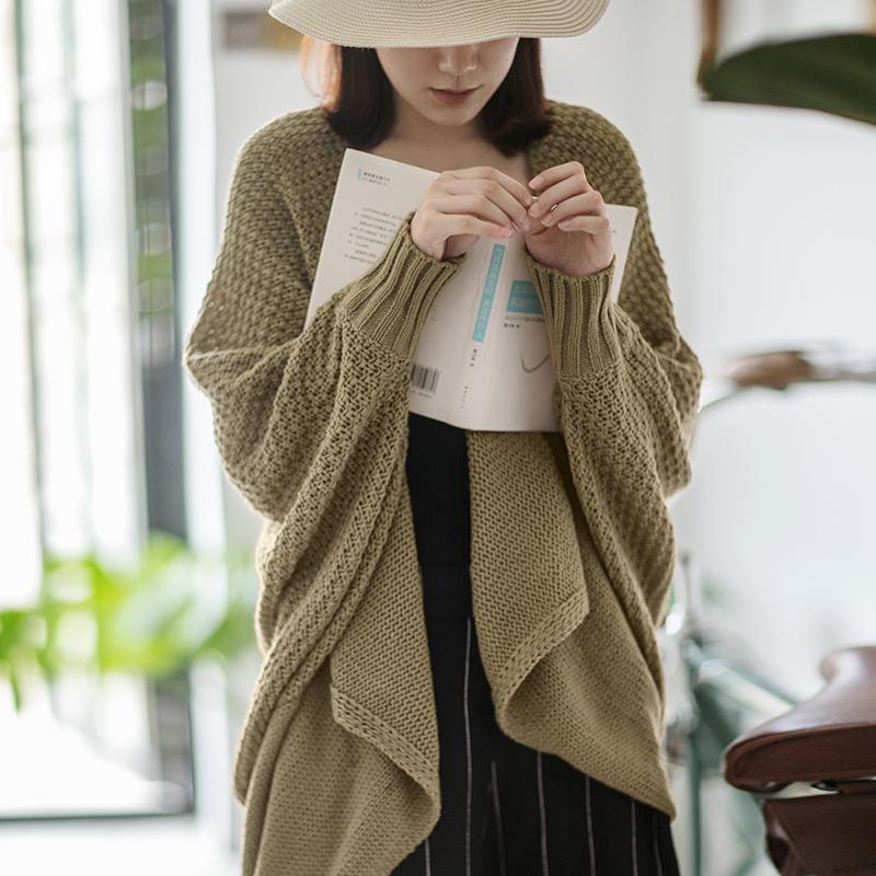 针织外套女春秋新款蝙蝠袖中长款咖啡色毛衫大码开衫慵懒风毛衣潮