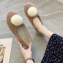 2020秋冬新款毛毛鞋加绒单鞋保暖圆头棉鞋毛球豆豆鞋瓢鞋一脚蹬女
