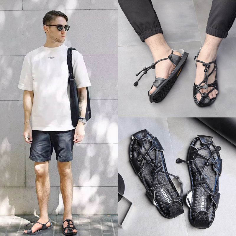 ROMAN SANDALS mens 2019 summer European and American personalized leather woven Vietnamese shoes large Baotou sandals mens driving trend