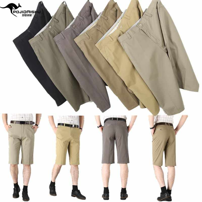 Top grade brand summer thin Capris shorts middle aged mens casual pants high waist straight tube middle aged and old dad pants