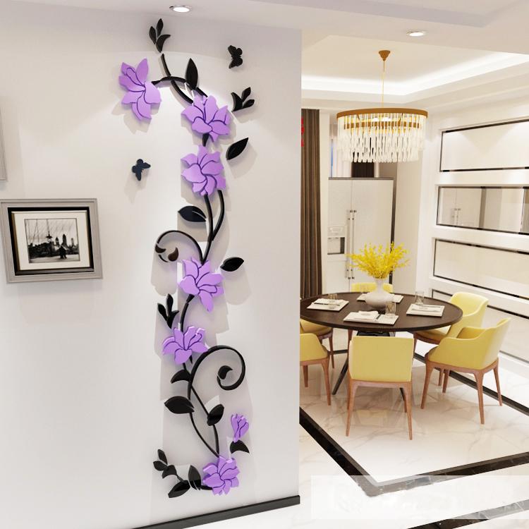 温馨3d亚克力立体墙贴花客厅背景墙