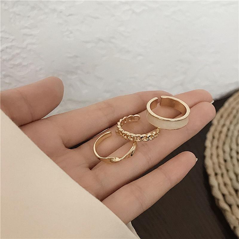 时尚个性戒指女ins潮冷淡风小众设计简约套装嘻哈素圈食指戒指环