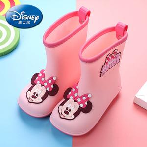 正品迪士尼男女童中筒防滑小孩胶鞋
