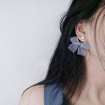 日韩清新蝴蝶结耳钉女 超仙雪纺丝带耳钉时尚简约甜美风耳环显瘦