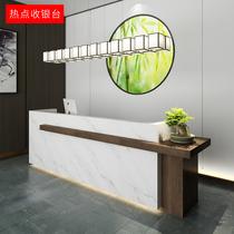 慕典办公前台白色烤漆前台桌弧形接待台收银台迎宾台大厅创意吧台