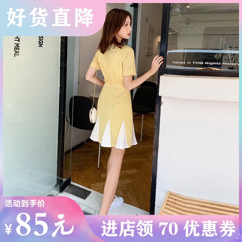 20 womens summer short goose yellow Chiffon short sleeve pleated skirt high waist a word thin medium length Fairy Dress