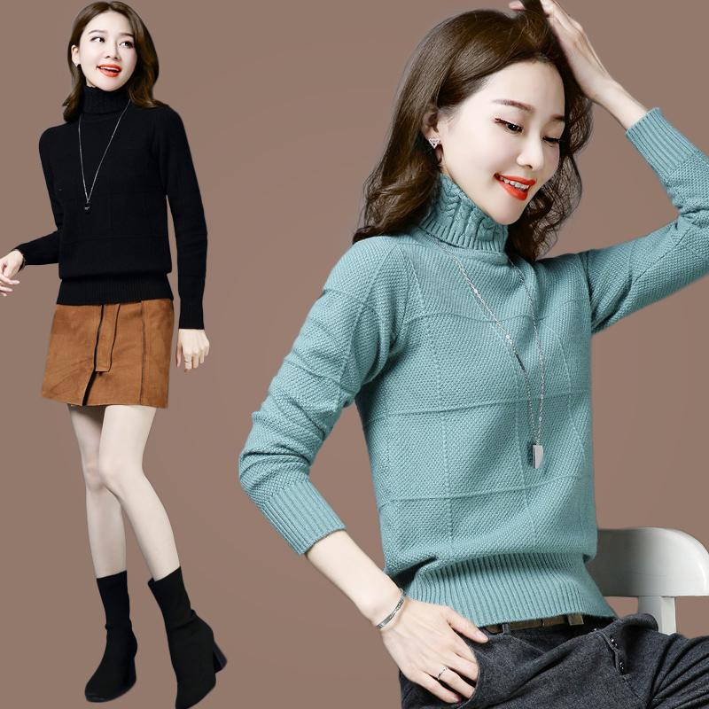 High collar sweater womens cashmere sweater 2020 new popular autumn and winter thickened pure wool sweater 100 bottomed sweater