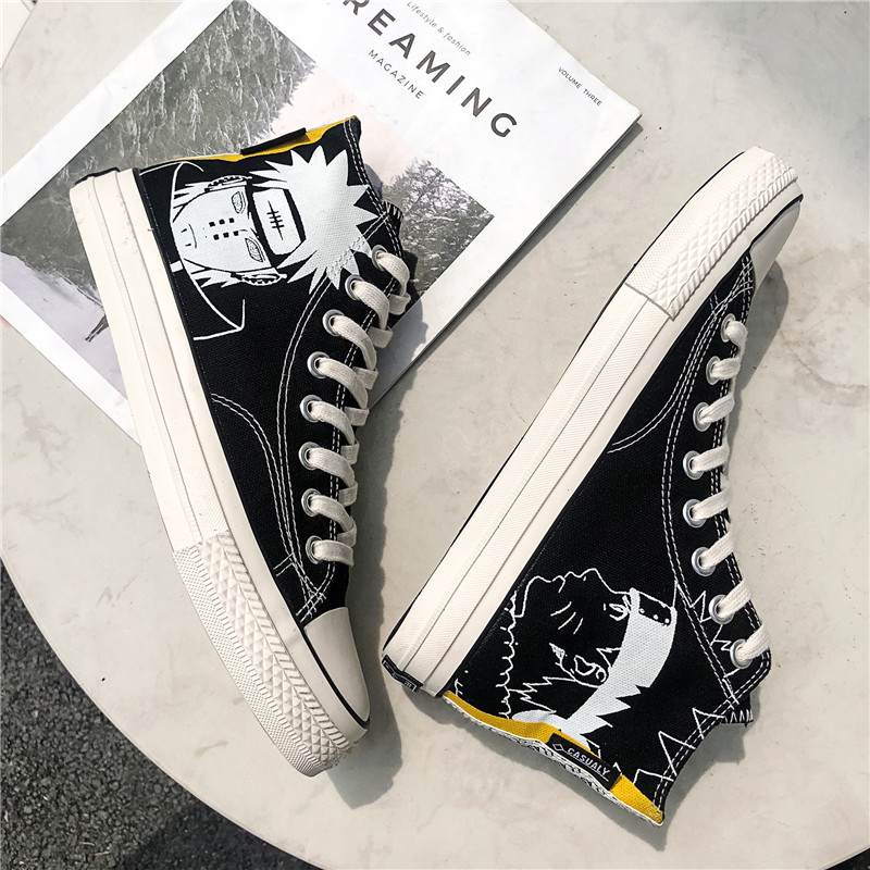 Canvas shoes, mens high top board shoes, famous figures, converse Naruto, joint printing and velveteen graffiti, high school students shoes
