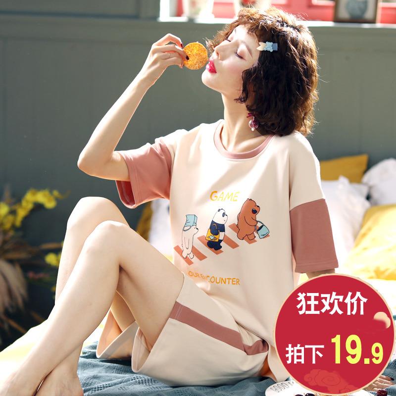 睡衣女夏季薄款纯棉短袖少女士夏天卡通可爱套装春秋冬家居服外穿图片