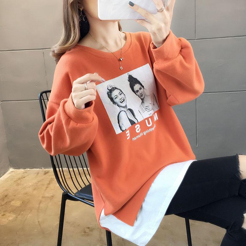 5608实拍#潮减龄长袖上衣女装卫衣学生宽松韩版拼接原宿2019新款