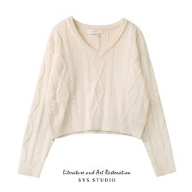 拾野森 冬装新款温柔风复古短款麻花长袖V领针织衫毛衣女上衣外套