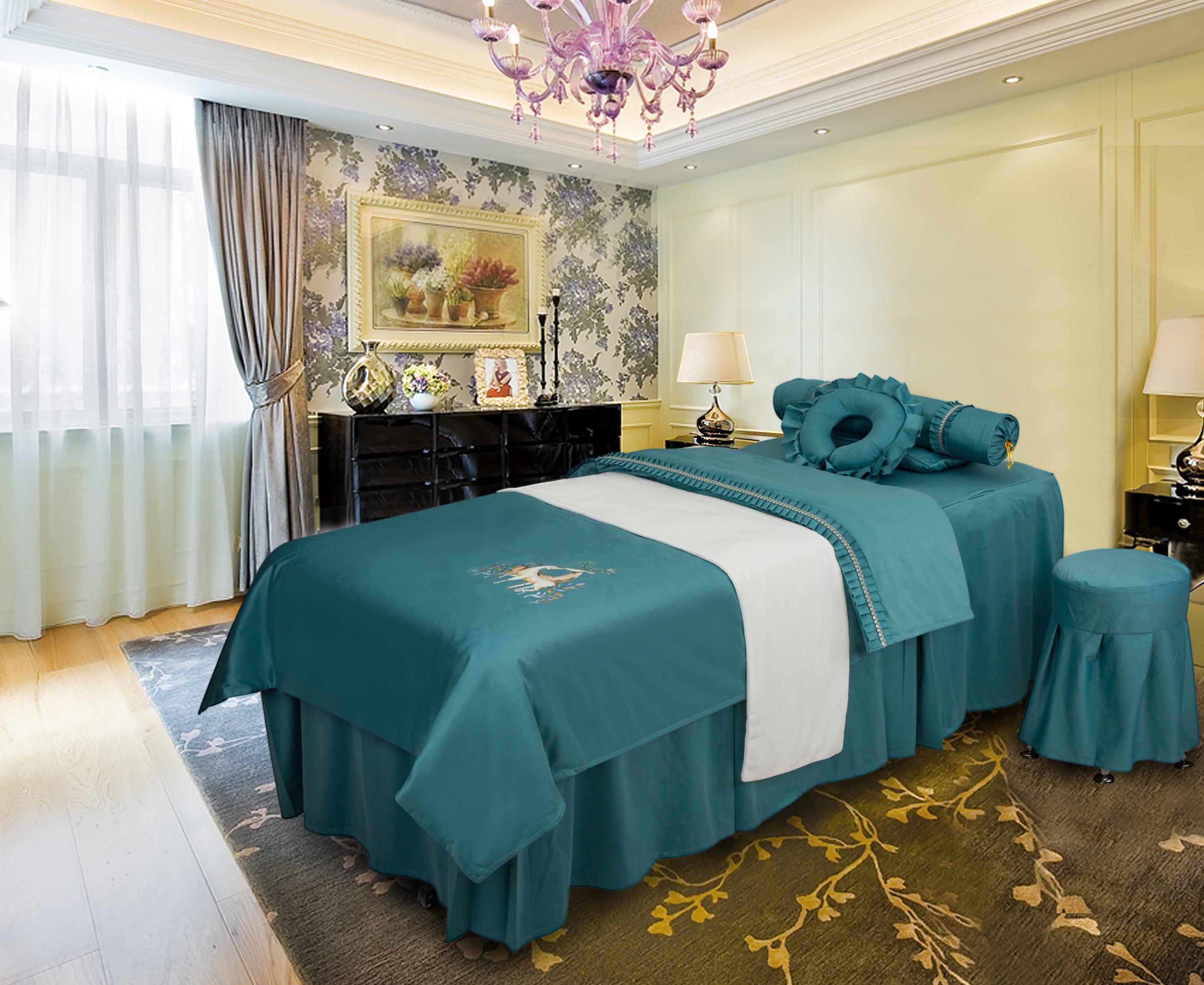 美容床罩四件套美容院美体按摩床套简约理疗床罩