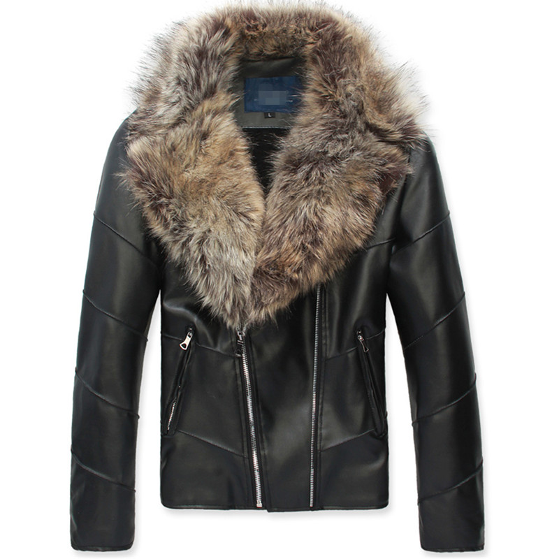 Autumn and winter double pull fashion big hair collar, slim fitting, plush and thickened mens Korean jacket, PU leather jacket, leather jacket trend