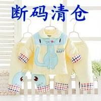 宝宝秋装套装0-1岁 婴儿衣服男女纯棉三件套新生儿薄棉衣春季夹棉