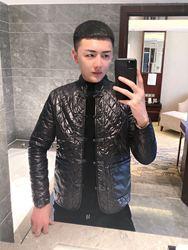 皇家男爵v2020春季轻薄棉服唐装盘扣长袖夹克菱形格外套男中国风
