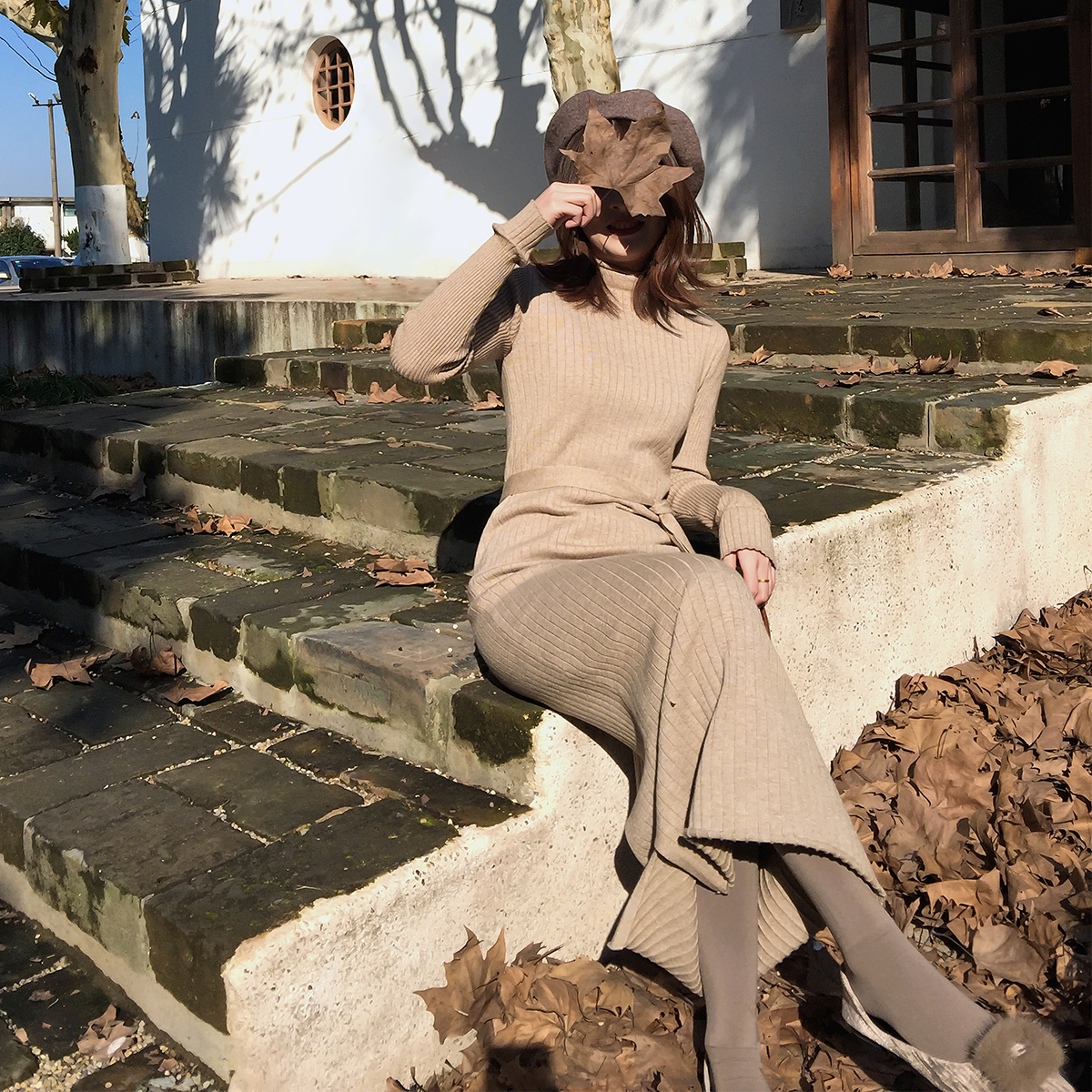 2018冬季新款系带半高领针织连衣裙气质修身长袖裙子女装安娜anna