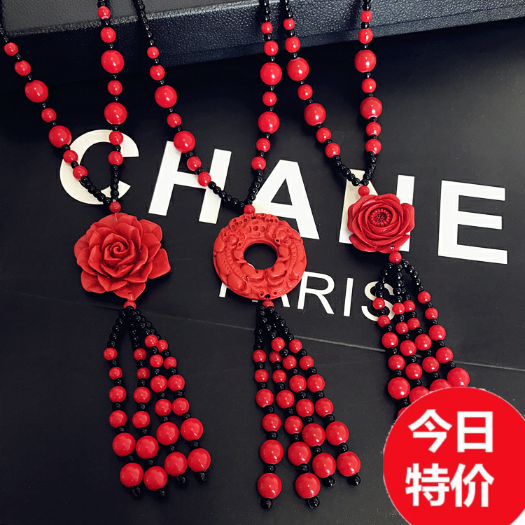 Cinnabar sweater chain long needlework rose retro versatile clothes imitation wax Necklace Pendant autumn amber jewelry