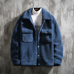 [挂拍]2019新款冬装男士加厚羊羔毛夹克外套 A011-D229*P135 蓝色