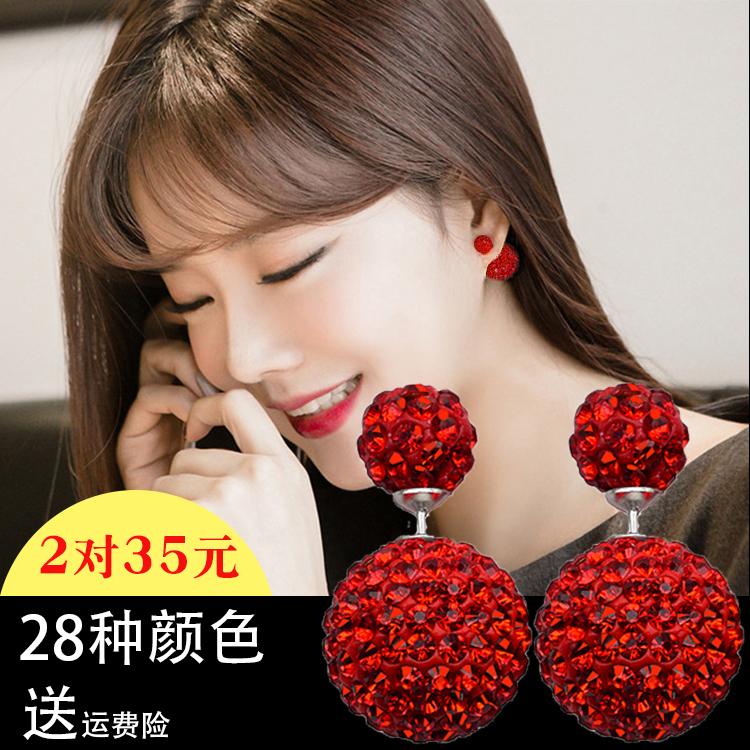 前后双面球水钻耳钉女气质耳坠韩国红色耳饰s925纯银超闪水晶耳环
