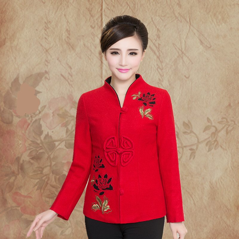 2018 new mothers ethnic wool coat middle-aged womens embroidered Tang suit middle-aged and elderly autumn and winter coat