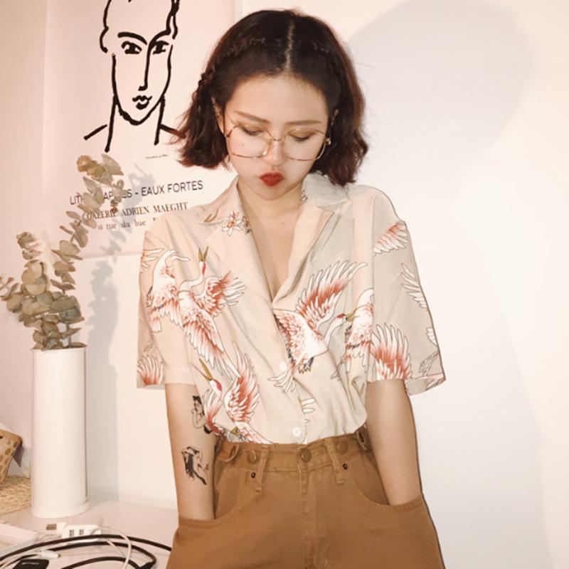 夏装女装韩版原宿风复古仙鹤印花图案西装领宽松短袖衬衣女上衣潮