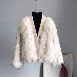 显气质小香风保暖银狐毛编织皮草外套女短款时尚V领貉子毛女装潮