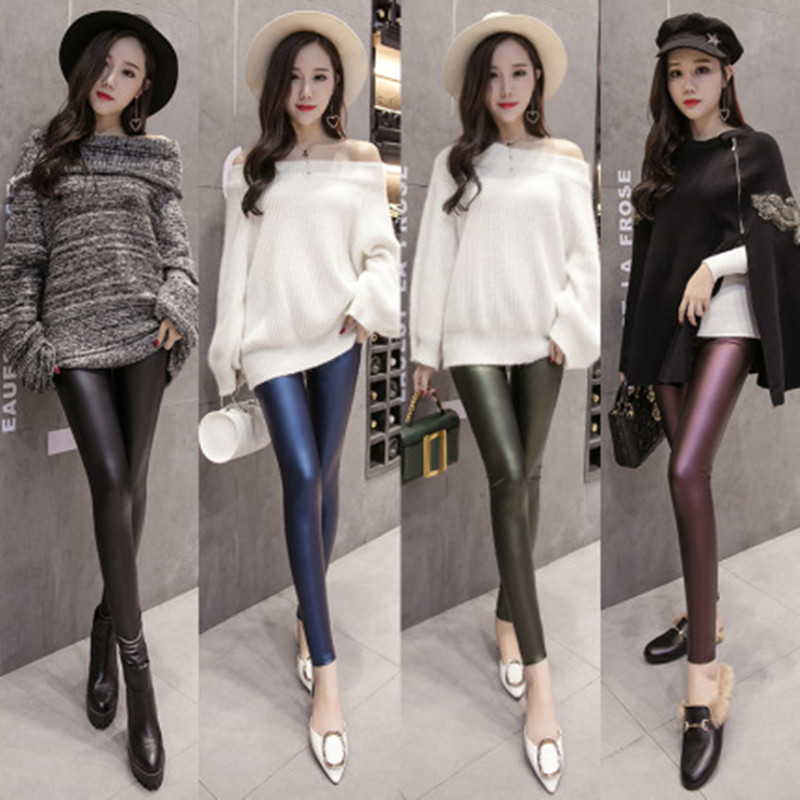 New spring and autumn new plush leather pants for women