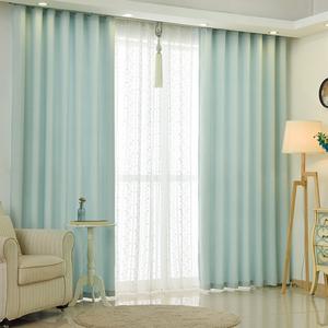 北欧棉麻风窗帘现代简约遮光窗帘客厅卧室飘窗纯色窗帘纱成品布艺