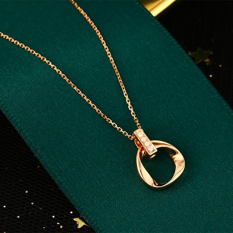 ダイヤモンドのネックレス女性18 Kローズゴールドダイヤモンドのネックレスダブルリングのネックレス。