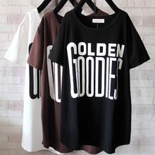 大码胖妹妹短袖T恤女夏季新款韩版纯棉字母上衣200斤打底衫中长款