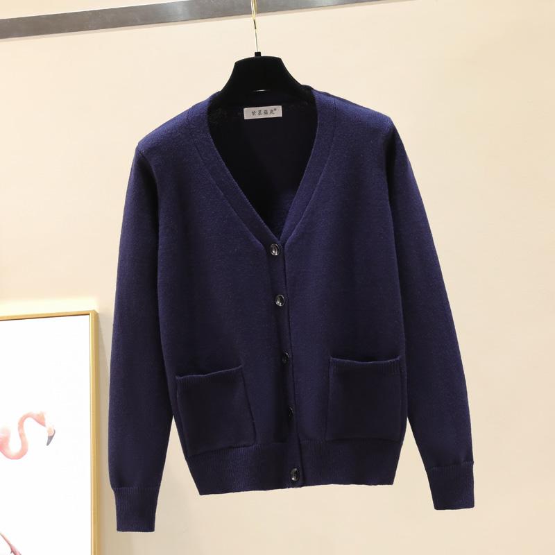 定制工作服加logo毛衣外套女士加厚短款开衫秋冬季V领针织线上衣图片