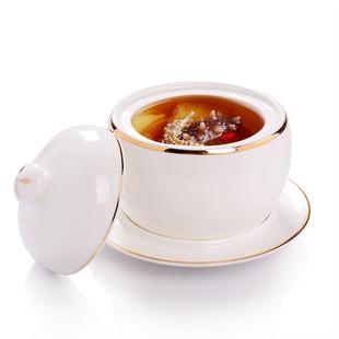 酒店餐厅迷你陶瓷燕窝炖盅内胆甜品小汤盅骨瓷隔水蒸盅煲炖汤盅罐