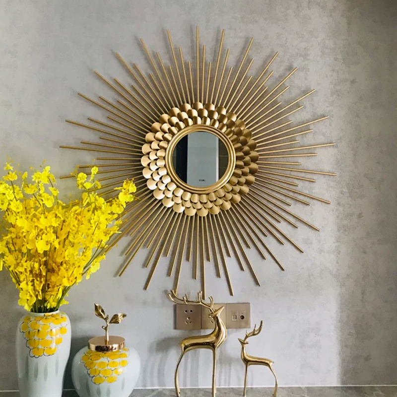 Metal sunglasses living room dining room wall mirror iron decorative mirror background wall light luxury porch wall decoration