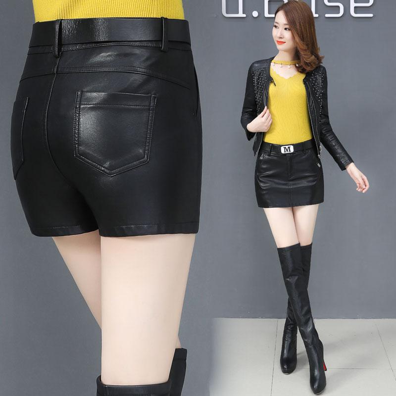 皮裤女2018秋冬新款高腰pu皮短裤裙韩版显瘦百搭包臀皮裙裤靴裤