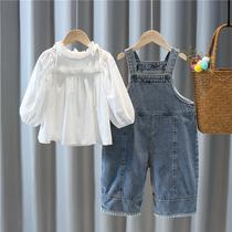 女童背带裤套装2020新款秋装1一3岁韩女宝宝洋气牛仔阔腿裤两件套