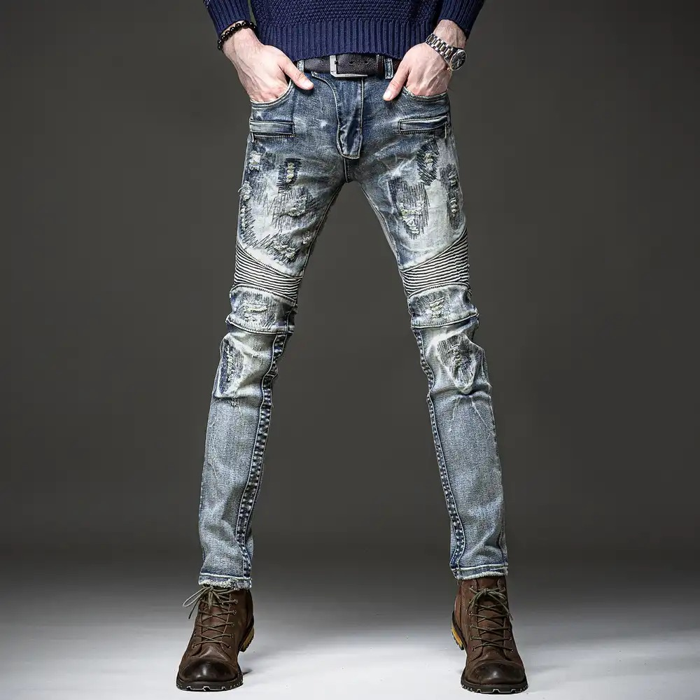 Hanhuanxin clothing autumn Huanxin high grade mens personalized jeans