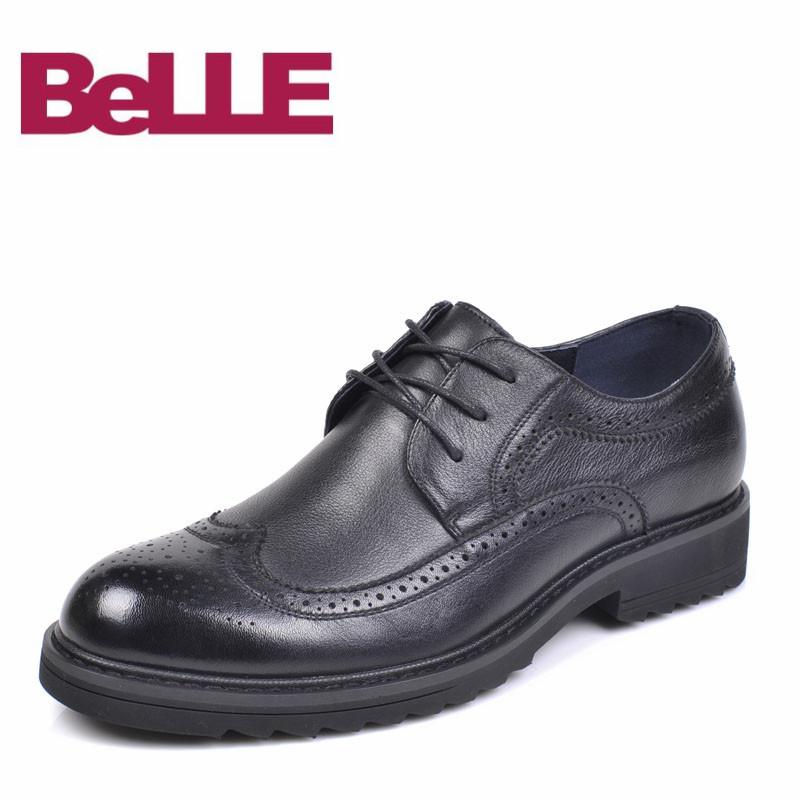 Belle/百丽男鞋流行帅气系带布洛克雕花低跟日常男士商务正装皮鞋