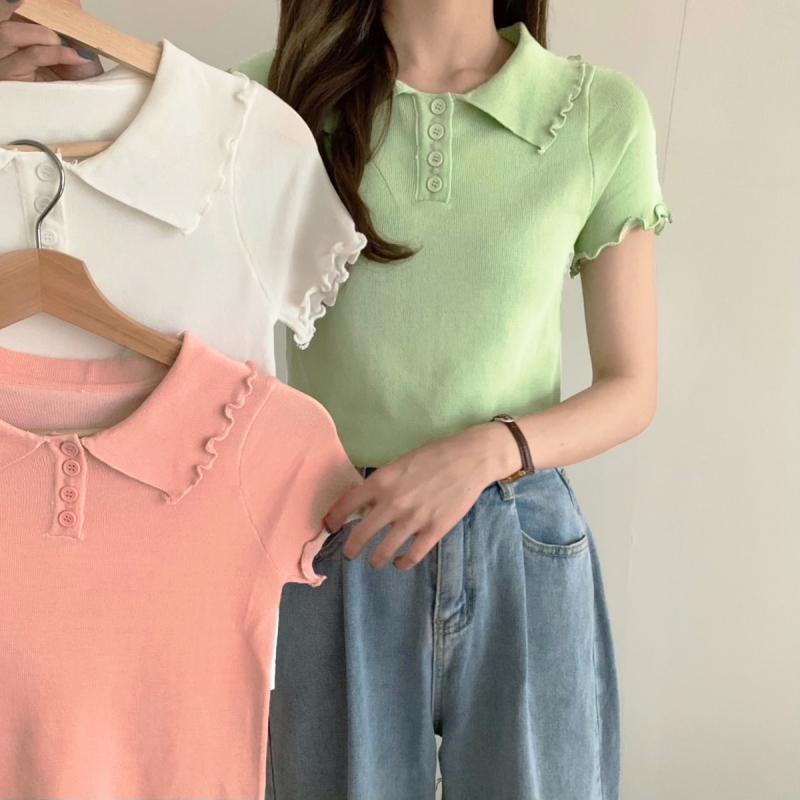 实拍实价#夏季冰丝短袖针织翻领polo针织衫法式短款高腰上衣女