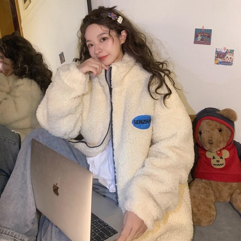 實拍實價#羊羔絨開衫立領衛衣女寬松韓版外套潮