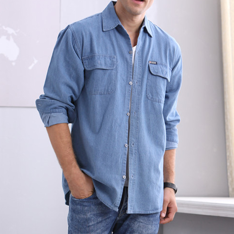 Cotton denim shirt summer long sleeve breathable shirt fattening oversized middle-aged mens work clothes