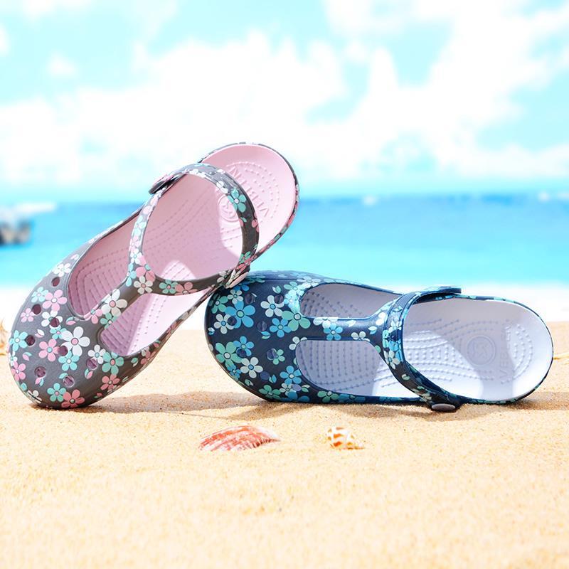 2019新款洞洞鞋女包头拖鞋防滑厚底休闲海边沙滩鞋软底果冻鞋厚底(用42.78元券)