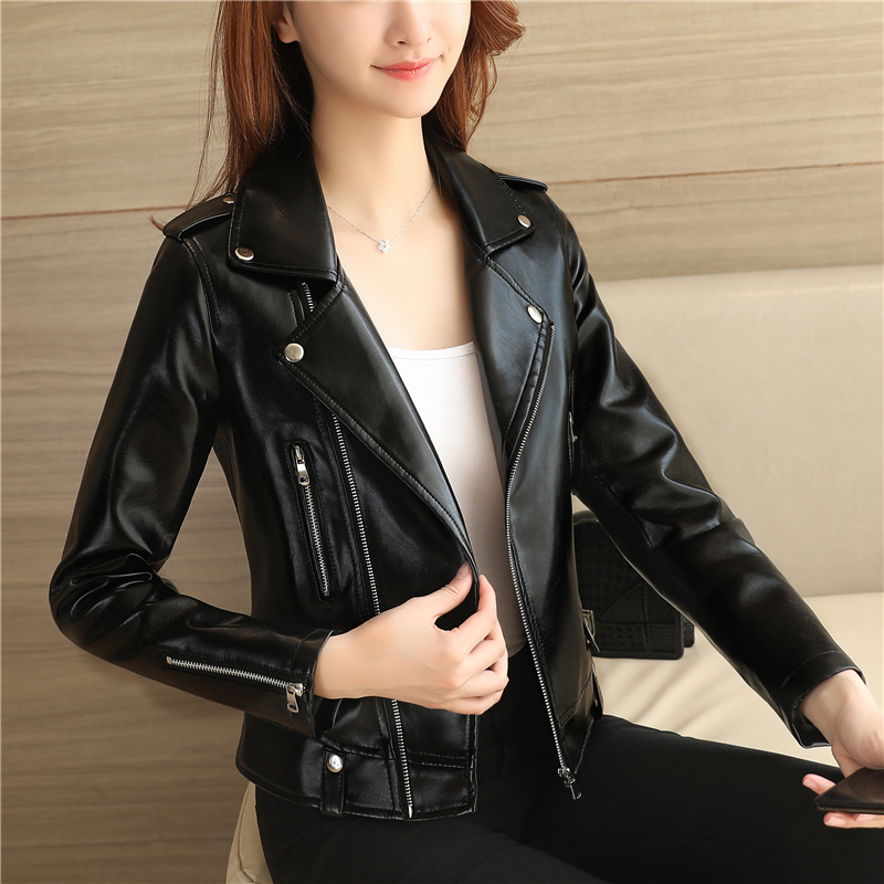 Spring and autumn new style leather jacket womens short Korean version slim black motorcycle PU leather jacket womens small coat
