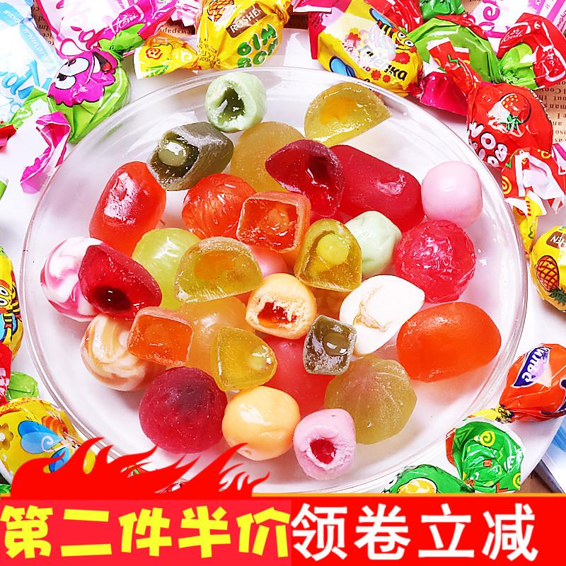 俄罗斯进口混合装水果软糖硬糖喜糖果年货散装网红休闲小零食品
