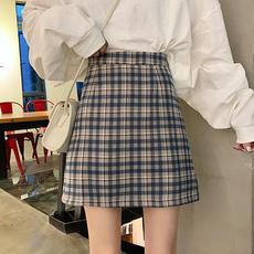 2020新款夏季高腰a字裙显瘦半身裙女a型短裙bm包臀裙子百搭格子裙