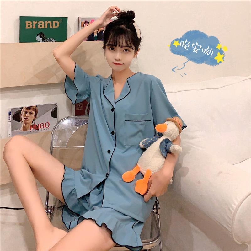 2020新款网红甜美可爱日系睡衣女夏季薄款冰丝两件套家居服套装