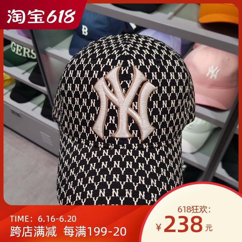 韩国十二月新品 MLB正品棒球帽男女洋基队米色大标鸭舌帽印花CPFB