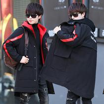 19冬季青少年14加厚棉衣13岁男孩16中长款羽绒棉服15大童初中学生